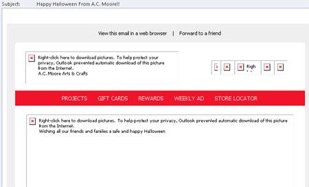A C Moore Halloween seasonal email - desktop