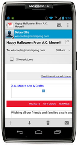 A C Moore seasonal email - mobile