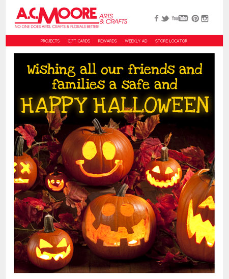 A C Moore's Halloween Email is designed for customer retention