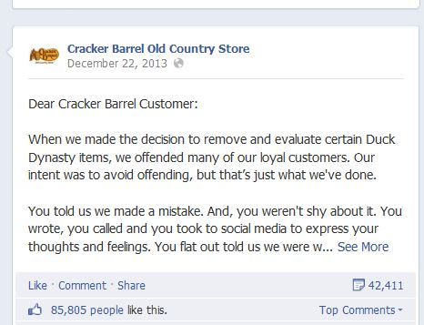 Cracker Barrel posts apology over pulling Duck Dynasty products