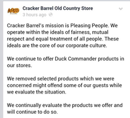 Cracker Barrel Post about Pulling Duck Dynasty