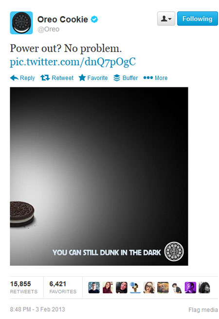 "Oreo tweets ""You can still dunk in the dark."""