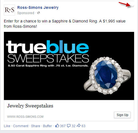 Facebook Save Button Ross-Simons Jewelry Example 1