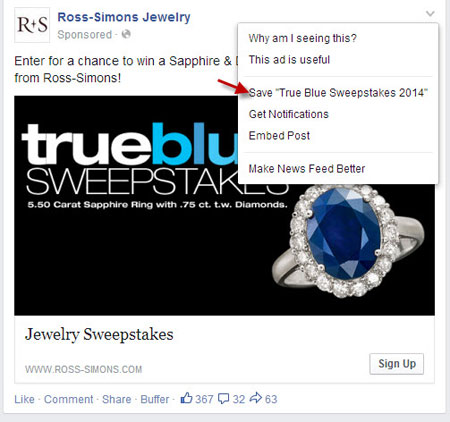 Facebook Save Button Ross-Simons Jewelry Example 2
